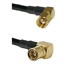 SMA Reverse Polarity Right Angle Male on RG142 to SMB Right Angle Female Cable Assembly