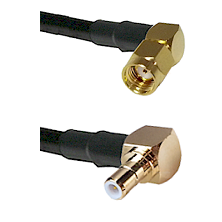 SMA Reverse Polarity Right Angle Male on RG142 to SMB Right Angle Male Cable Assembly
