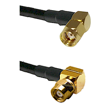 SMA Reverse Polarity Right Angle Male on RG142 to SMC Right Angle Female Cable Assembly