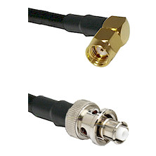 SMA Reverse Polarity Right Angle Male on RG142 to SHV Plug Cable Assembly