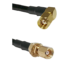 SMA Reverse Polarity Right Angle Male on RG142 to SMC Female Bulkhead Cable Assembly