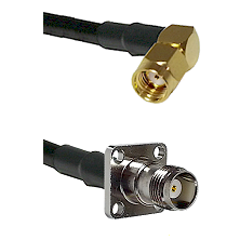 SMA Reverse Polarity Right Angle Male on RG142 to TNC 4 Hole Female Cable Assembly