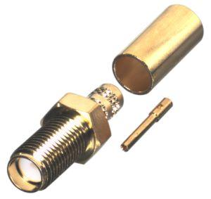 RSA-3050-1C1 RF Industries SMA, FEM STRAIGHT CRIMP, Gold,Gold,T; FOR RG-142/U, CBL GRP C1