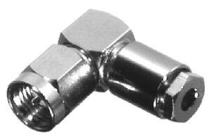 RSA-3110-B RF Industries SMA, MALE Right Angle SOLDER CLAMP, Nickel,Gold,T; FOR RG-174/U, RG316/U, L