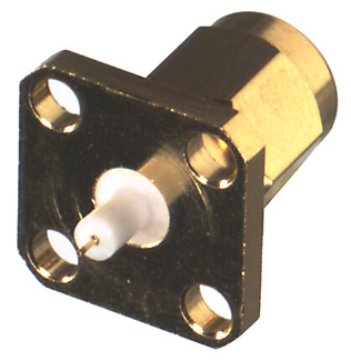 RSA-3232-1 RF Industries SMA STRAIGHT PANEL MNT Plug, 4-HOLE FLANGE, 126 EXT DIELECTRIC, (012 DIA