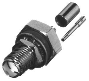 RSA-3252-A RF Industries SMA, FEM BLKHD CRIMP, Nickel,Gold,T; FOR RG-178/U, CBL GRP A