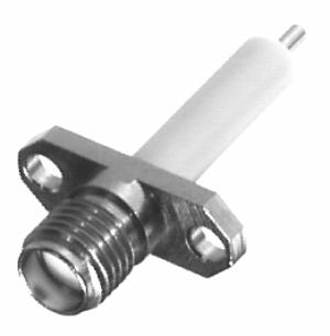 RSA-3269 RF Industries SMA, FEM 2-HOLE PANEL MNT, 590 EXTENDED DIELECTRIC, POST TERMINAL, Nickel,G