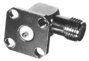 RSA-3285-03 RF Industries SMA, FEM 4-HOLE Right Angle PANEL MNT, POST TERMINAL, Nickel,Gold,T