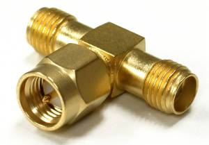 RSA-3400-1 RF Industries SMA T ADAPTER, MALE TO DOUBLE SMA FEM, Gold,Gold,T