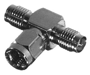 RSA-3400 RF Industries SMA T ADAPTER, MALE TO DOUBLE SMA FEM, Nickel,Gold,T