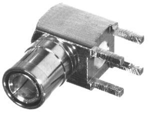 RSB-265-1 RF Industries MINI-SMB 75 OHM Right Angle PLUG PCB MNT, Gold, Gold, T