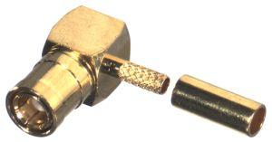 RSB-4010-1B-03 RF Industries SMB Plug, Right Angle CRIMP, PRESS-FIT CAP, Gold,Gold,T; FOR RG-174/U &
