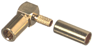 RSB-710-1B RF Industries SSMB Plug, RIGHT ANGLE, CRIMP, Gold,Gold,T; FOR RG316/U, LMR100A, CBL GRP B