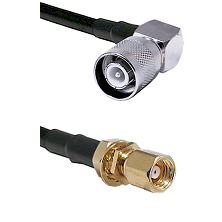 SC Right Angle Male on LMR200 UltraFlex to SMC Female Bulkhead Cable Assembly
