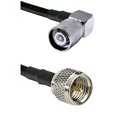 SC Right Angle Male Connector On LMR-240UF UltraFlex To Mini-UHF Male Connector Coaxial Cable Assemb