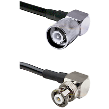 SC Right Angle Male Connector On LMR-240UF UltraFlex To MHV Right Angle Male Connector Coaxial Cable