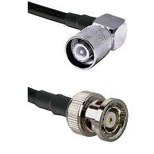 SC Right Angle Male Connector On LMR-240UF UltraFlex To BNC Reverse Polarity Male Connector Coaxial