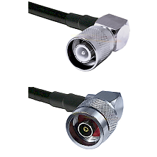 SC Right Angle Male Connector On LMR-240UF UltraFlex To N Reverse Polarity Right Angle Male Connecto