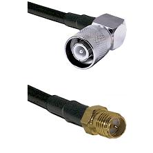 SC Right Angle Male Connector On LMR-240UF UltraFlex To SMA Reverse Polarity Female Connector Coaxia