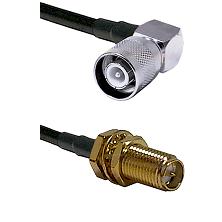 SC Right Angle Male Connector On LMR-240UF UltraFlex To SMA Reverse Polarity Female Bulkhead Connect