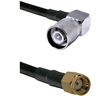 SC Right Angle Male Connector On LMR-240UF UltraFlex To SMA Reverse Polarity Male Connector Coaxial