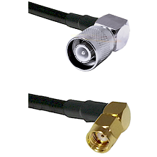 SC Right Angle Male Connector On LMR-240UF UltraFlex To SMA Reverse Polarity Right Angle Male Connec