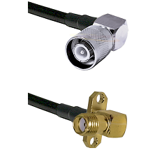 SC Right Angle Male Connector On LMR-240UF UltraFlex To SMA 2 Hole Right Angle Female Connector Coax