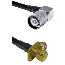 SC Right Angle Male Connector On LMR-240UF UltraFlex To SMA 4 Hole Right Angle Female Connector Coax