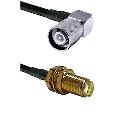 SC Right Angle Male Connector On LMR-240UF UltraFlex To SMA Female Bulkhead Connector Coaxial Cable