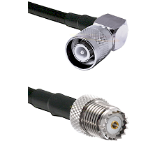 SC Right Angle Male on RG142 to Mini-UHF Female Cable Assembly