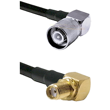 SC Right Angle Male on RG142 to SMA Reverse Thread Right Angle Female Bulkhead Coaxial Cable Assembl
