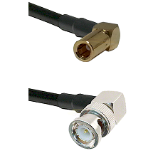 SLB Right Angle Female on Belden 83242 RG142 to BNC Right Angle Male Cable Assembly