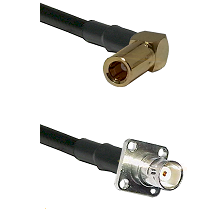 SLB Right Angle Female on LMR200 UltraFlex to BNC 4 Hole Female Cable Assembly