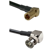 SLB Right Angle Female on RG142 to BNC Reverse Polarity Right Angle Male Cable Assembly