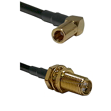 SLB Right Angle Female on RG400 to SMA Reverse Polarity Female Bulkhead Cable Assembly