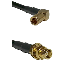 SLB Right Angle Female on RG58C/U to MCX Female Bulkhead Cable Assembly
