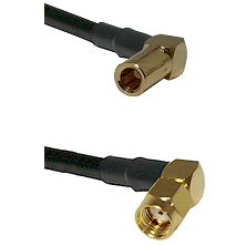 SLB Right Angle Female on RG58 to SMA Reverse Polarity Right Angle Male Cable Assembly