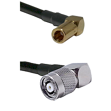 SLB Right Angle Female on RG58C/U to TNC Reverse Polarity Right Angle Male Cable Assembly