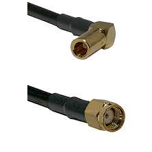 SLB Right Angle Female on RG58C/U to SMA Reverse Polarity Male Cable Assembly