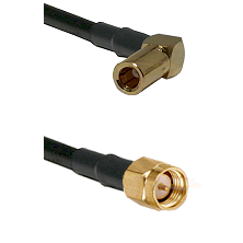 SLB Right Angle Female on RG58C/U to SMA Reverse Thread Male Cable Assembly