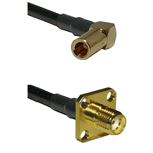 SLB Right Angle Female on RG58C/U to SMA 4 Hole Female Cable Assembly