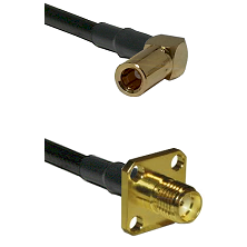 SLB Right Angle Female on RG58 to SMA 4 Hole Female Cable Assembly