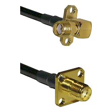 SMA 2 Hole Right Angle Female on Belden 83242 RG142 to SMA 4 Hole Female Cable Assembly