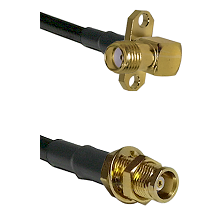 SMA 2 Hole Right Angle Female on LMR100 to MCX Female Bulkhead Cable Assembly