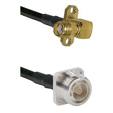 SMA 2 Hole Right Angle Female on LMR-195-UF UltraFlex to 7/16 4 Hole Female Cable Assembly