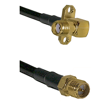 SMA 2 Hole Right Angle Female on LMR-195-UF UltraFlex to SMA Reverse Polarity Female Coaxial Cable A