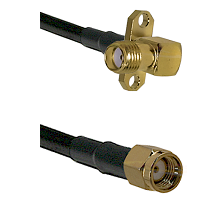 SMA 2 Hole Right Angle Female on LMR-195-UF UltraFlex to SMA Reverse Polarity Male Coaxial Cable Ass
