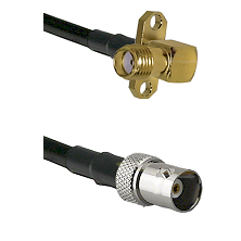SMA 2 Hole Right Angle Female on LMR200 UltraFlex to BNC Female Cable Assembly