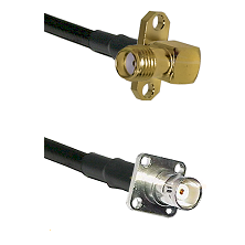 SMA 2 Hole Right Angle Female on LMR200 UltraFlex to BNC 4 Hole Female Cable Assembly
