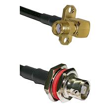 SMA 2 Hole Right Angle Female on LMR200 UltraFlex to C Female Bulkhead Cable Assembly